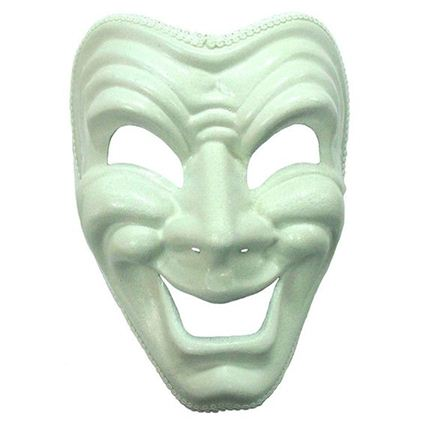 Happy white masquerade mask. EM401