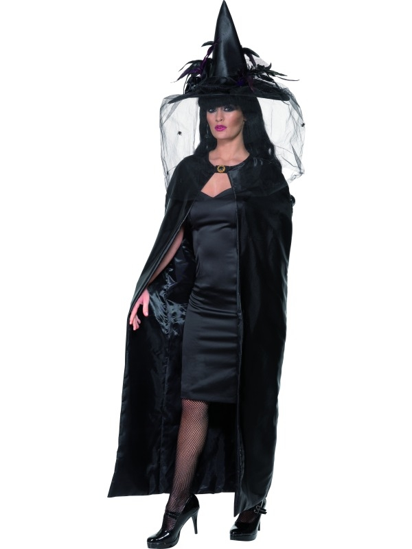 Black long satin cape 36934