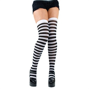 Black and white striped stockings BA033