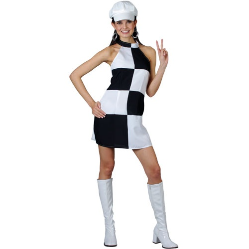 Funky 60's black white check dress ef2069