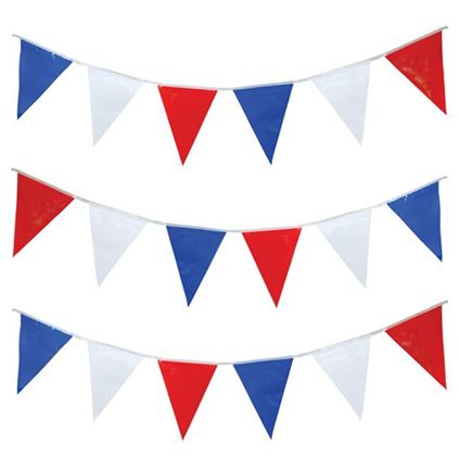 Red, white and blue bunting 7 metre long pg005