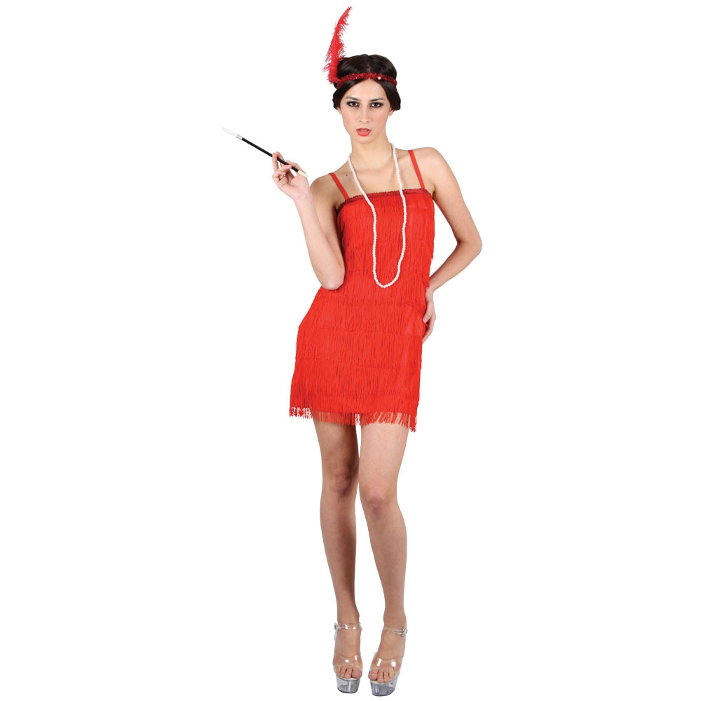 Red showtime 20's flapper dress ef2122