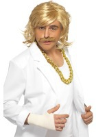 Blonde Game show host wig and tash 38630