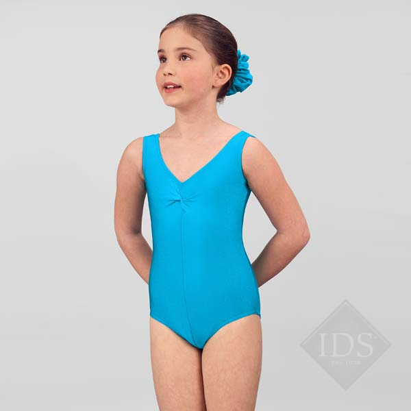 Kingfisher blue lycra vest leotard Q2a-00