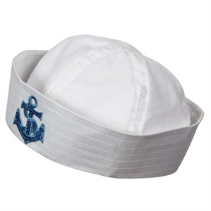 Fancy Dress Factory.... ac9136 - White sailor hat with blue sequin ... 7993afd7c8e
