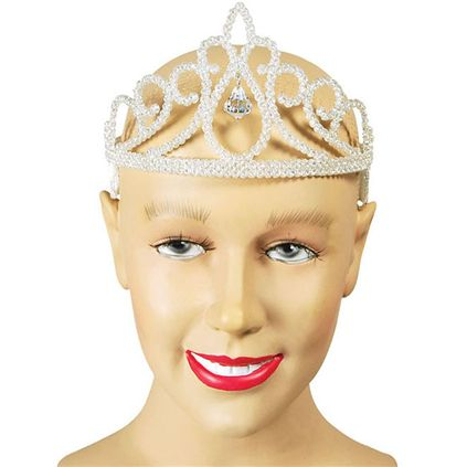 White glitter tiara with jewel BA727